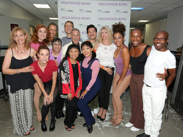 Front row: (L-R):  Original 1975 cast member Nancy Lane (standing) and Hollywood Bowl cast member Kelsey Walston (In red) as Bebe Benzenheimer, original cast member Baayork Lee and Hollywood Bowl cast member J. Elaine Marcos as Connie Wong, original cast